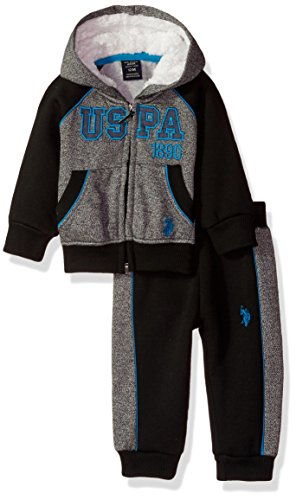 U.S. Polo Assn. Baby Boys' 2 Piece Fleece Jog Set, 0704-Turquoise, 18M