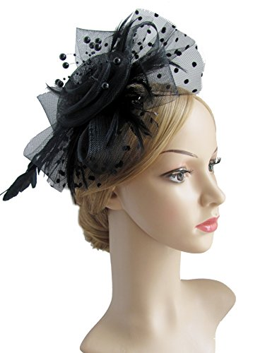 Top Hat Fascinators (Flower Cocktail Tea Party Headwear Feather Fascinators Top Hat for Girls and Women (BLACK))