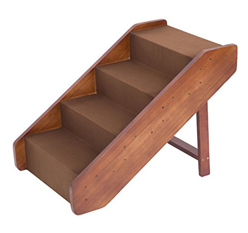 PawHut 4-Step Indoor Folding Wooden Pet Stairs