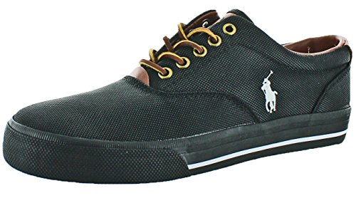 Polo Ralph Lauren Men's Vaughn Nylon Sneaker,Black Nylon,7 D - Polo Com Lauren Ralph