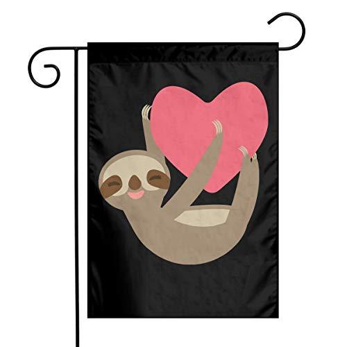 Sloth Holding Red Heart-3 Custom Outdoor/Home Garden Flag Wedding Anniversary Garden Flag 12