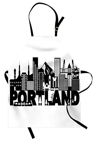 Lunarable Portland Apron, Famous Landmarks in Oregon State Buildings Mount Hood and Hawthorne Bridge, Unisex Kitchen Bib Apron with Adjustable Neck for Cooking Baking Gardening, Black and White ()