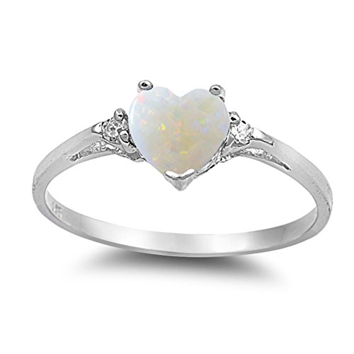 925 Sterling Silver Cabochon Natural Genuine White Opal Heart Promise Ring Size 6 ()