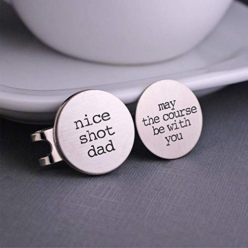 Stainless Steel Golf Ball Markers Valentine's Day Gift, Nice Shot Dad and May the Course Be with You