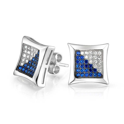 Cubic Zirconia Sapphire Earrings - Mens Blue White Square Kite Shaped Micro Pave Cubic Zirconia CZ Stud Earrings Simulated Sapphire Sterling Silver 10MM