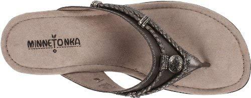 Minnetonka Women's Silverthorne Thong,Pewter Leather,US 5 M