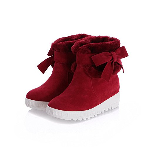AllhqFashion Mujeres Caña Baja Sólido Sin cordones Puntera Redonda Mini Tacón Botas Rojo
