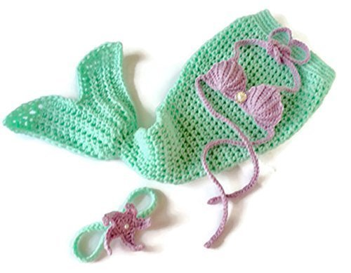 Baby Mermaid Costume Gift Set Mint Green and