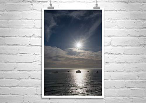 Ocean Sunset Art, Oregon Coast Photograph (Framed Redfish)