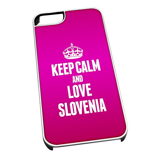 Bianco cover per iPhone 5/5S 2279 Pink Keep Calm and Love Slovenia