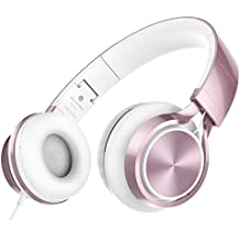 AILIHEN MS300 Headphones, Stereo Foldable Wired Headset for iPhone iPad iPod Android Cell Phones Laptop Tablet PC Computer (Rose Gold)