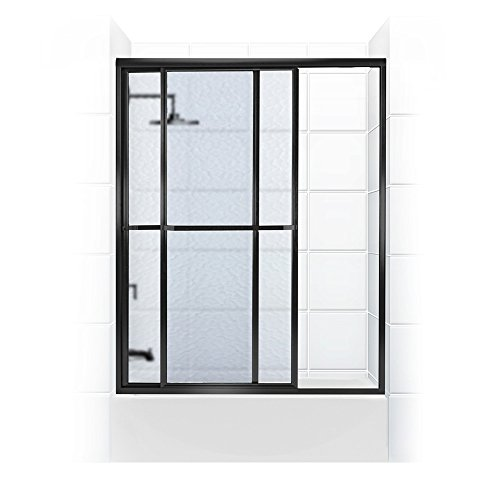 Coastal Shower Doors Paragon Series Framed Sliding Tub Door with Towel bar In Obscure Glass, 52