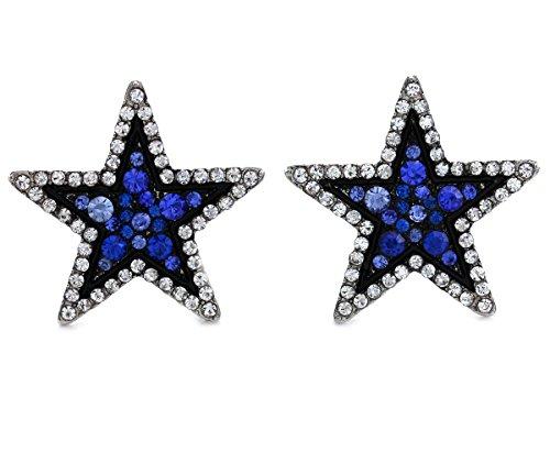Sparkling Royal Blue White Star Stud Post Earrings Clear Rhinestones Fashion Jewelry