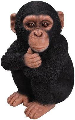 Chimp Sitting Monkey Vivid Arts Garden Ornament Indoor Outdoors Frost Resistant