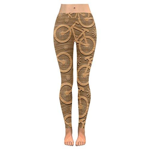 Bicycle Wooden - INTERESTPRINT Bicycle Wooden Custom Stretchy Capri Leggings Skinny Pants for Yoga Running Pilates Gym XS