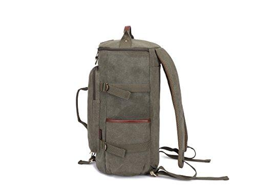 Kaukko Canvas Leather Backpack Big Schoolbag Traveling Hiking Rucksack