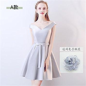 9273d62cd13a Amazon.com : 2018 new pink party dress sister group Summer Slim Korean  dress bridesmaid dress short paragraph for women girl : Beauty