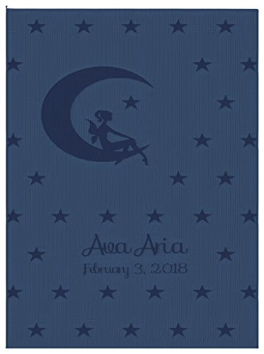 Emji Luxury Knit Baby Blanket with Fairy Stars, Customized Girl's Name Stroller Blanket, 100% Cashwool Merino Wool, Blue and Light Blue, Made in USA by Emji