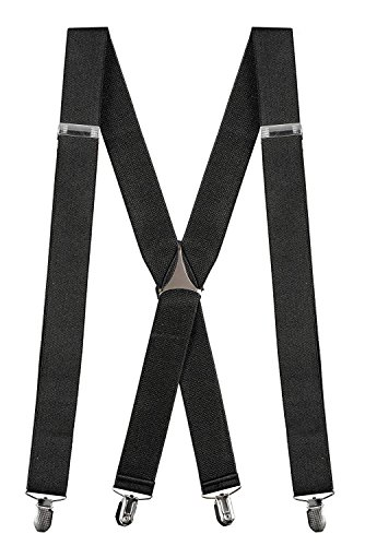 "Buyless Fashion Mens 48'' Elastic Adjustable 1 1/4"" Suspenders In X Shape – Black by Buyless Fashion"