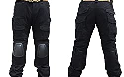 Lce gods Men Military Airsoft Hunting Pants Combat Tactical Pants with Knee Pads Black