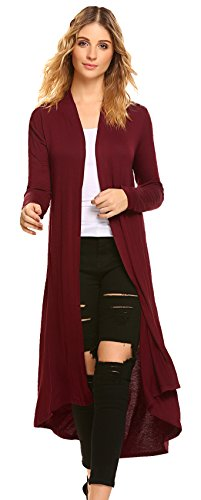 POGTMM Women's Long Open Front Drape Lightweight Maix Long Sleeve Cardigan Sweater (US S (4-6), Wine Red) ()