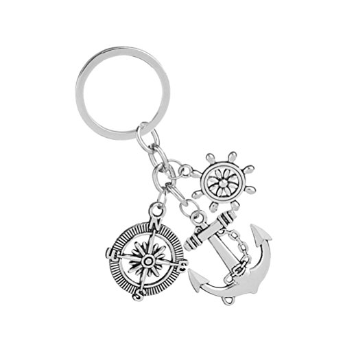 Museya Graduation Keychain Key Ring with Compass Ship Steering Wheel Anchor (Steering Wheel Keychain Ring)