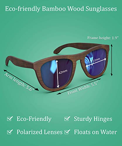 PREMIUM Polarized Wooden Sunglasses For Men & Women Featuring 11 LAYERED Lens |Wood Sunglasses With Distortion Free, Anti-Reflective & Anti-Scratch Lens -Light Weight Bamboo Sunglasses Wood Frame