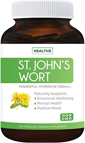 St. John s Wort – 120 Capsules Non-GMO Powerful 900mcg Hypericin – Saint Johns Wort Extract for Mood, Tincture Mental Health – No Oil or Pills – 500mg Per Capsule Supplement