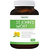 St. John's Wort - 120 Capsules (Non-GMO) Powerful 900mcg Hypericin - Saint Johns Wort Extract for Mood, Tincture & Mental Health - No Oil or Pills - 500mg Per Capsule Supplement