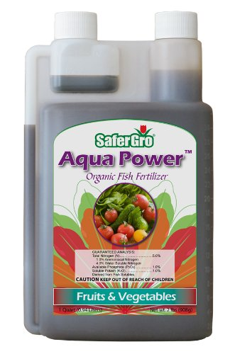 Safergro Aqua Power Certified Organic Fish Emulsion Concentrate, 1-Quart - Liquid Nitrogen Fertilizer