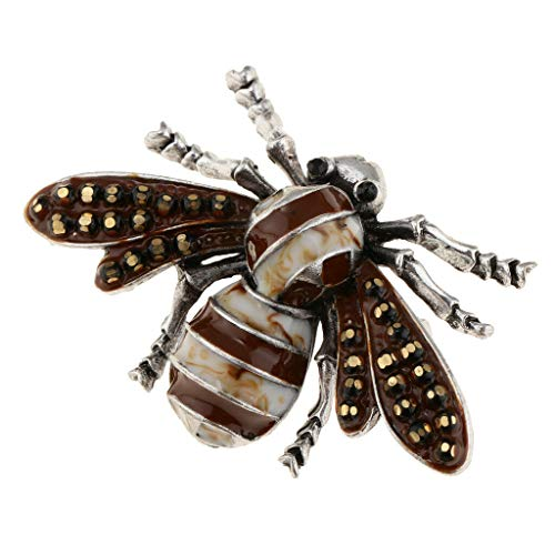 Crystal Rhinestone Insect Animal Corsage Scarf Clip Brooches for Women Girls (Color - Brown)