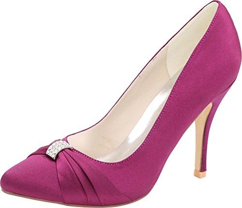 18 Purple 37 0255 Work Wedding Pumps Eu Toe Pointed Heeled Nightclub Ol Ladies Bride Satin Comfort Job Rhinestone dZqUgZ