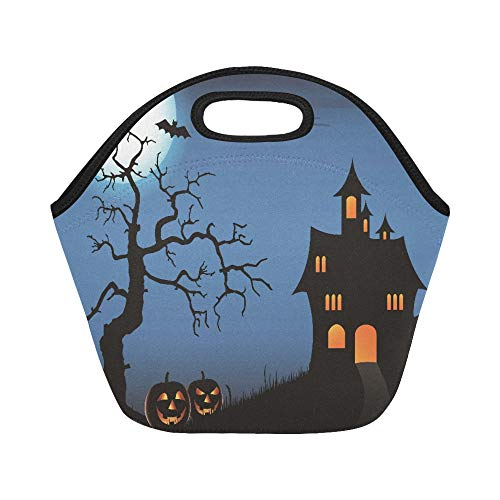 Insulated Neoprene Lunch Bag Halloween Pimpkin Castle Full Moon Bat Dead Tree Large Size Reusable Thermal Thick Lunch Tote Bags For Lunch Boxes For Outdoors,work, Office, School]()