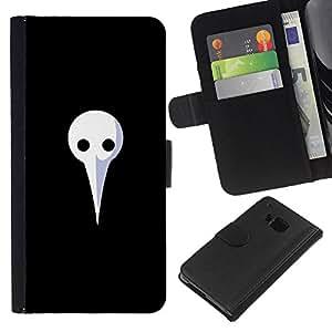 YiPhone /// Tirón de la caja Cartera de cuero con ranuras para tarjetas - Largo Máscara Blanca - HTC One M9