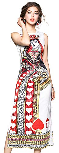 LAI MENG FIVE CATS Women's Summer Sleeveless The Queen of Hearts Print Party Long Midi Dress White