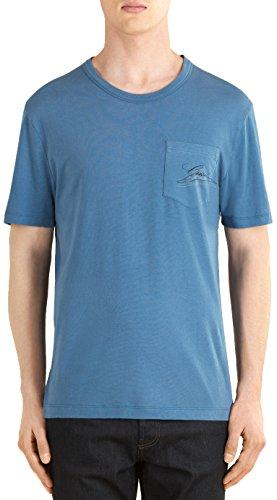 Gucci Men's Blue Cotton Jersey Script Logo Pocket T-Shirt...