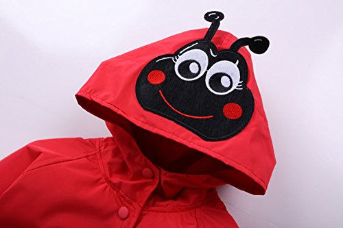 ,Red LZH Toddler Rain Jacket Girls Boys Raincoat Waterproof Hooded Bomber Coat,5 For Age 4-5Y