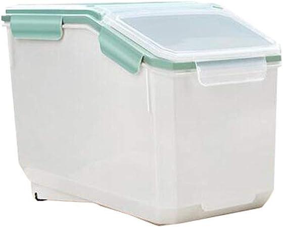 Caja plastico almacenaje, Contenedores de almacenamiento de alimentos con tapas, caja de almacenamiento de granos de cocina Caja de almacenamiento de arroz 10 kg Sello de plástico a prueba de humedad: Amazon.es: