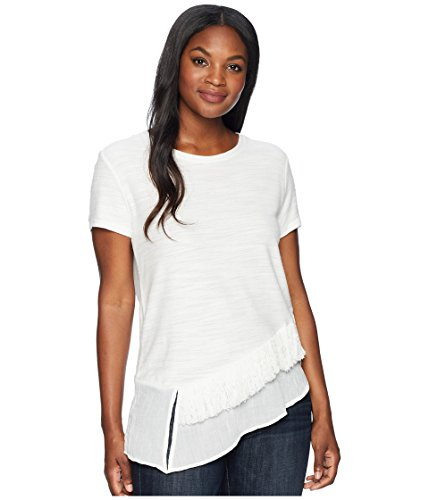 (Two by Vince Camuto Women's Short Sleeve Asymmetrical Ruffle Hem Tee w/Fringe Trim New Ivory X-Small)
