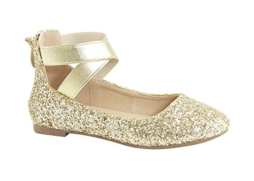 Anna Girl Kids Dress Ballet Flat Elastic Ankle Strap Faux Suede Shoes (10 M US Toddler, Gold) -