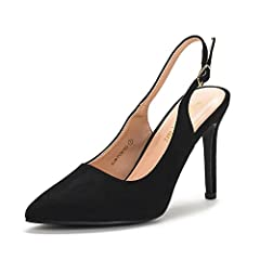 Classic, timeless design in a comfortable, pointed toe sling back strap pump heel that you will love to wear. Closed toe slip on open heel pumps with a slightly padded insole. Finished with back quarter ankle strap with buckle closure that ca...