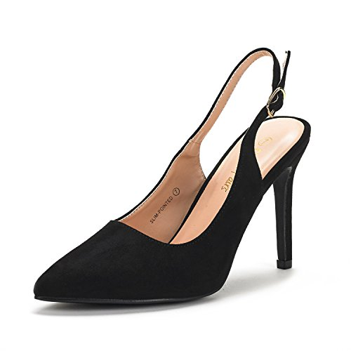 DREAM PAIRS Women's Slim-Pointed Black Suede High Heel Pump Shoes - 8 M US
