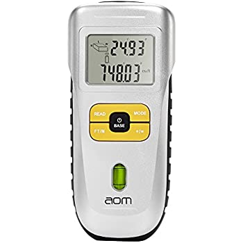 aom Ultrasonic Laser Distance Meter, Handheld Range Finder Measuring Device 52 Feet(16m) Measure Length, Area Measurement and Volume Calculation , Feet/Meter Selection