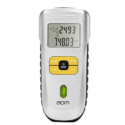 aom Digital Handheld LCD Ultrasonic Laser Tape Measure, 52 Feet (Ultrasonic Measuring Device)