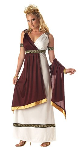 California Costumes Women's Roman Empress Costume,White/Burgundy, Large