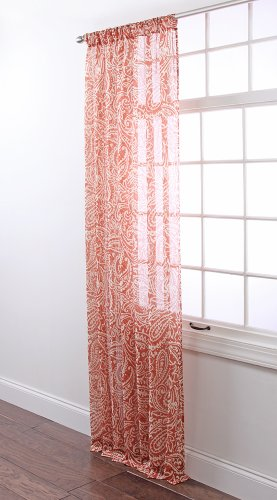 (Stylemaster Marley Printed Sheer Rod Pocket Panel, 54 by 84-Inch, Rust)