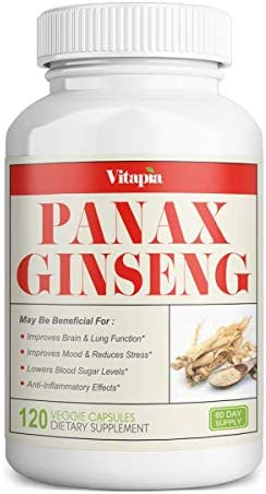 Vitapia Korean Panax Ginseng 1000mg – 120 Veggie Capsules – Vegan and Non-GMO – Supports Energy Boost Cognitive Health, Performance