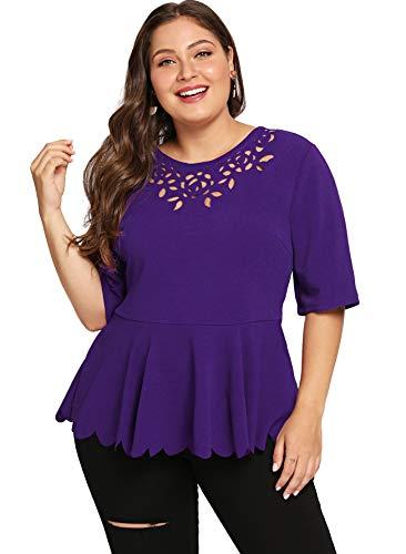 Purple Scalloped - Milumia Women's Plus Cute Cut Out Scalloped Peplum Tunics Blouse Tops Purple 2XL