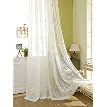 YouYee Semi-shade Cotton and Linen Elegant Embroidery Solid White Sheer Window Curtains/Drape/Panels/Treatment 5484 (2pieces)