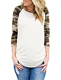 Women's 3 4 Reglan Sleeve Floral Stripes Camouflage Casual Blouse T Shirt Tops